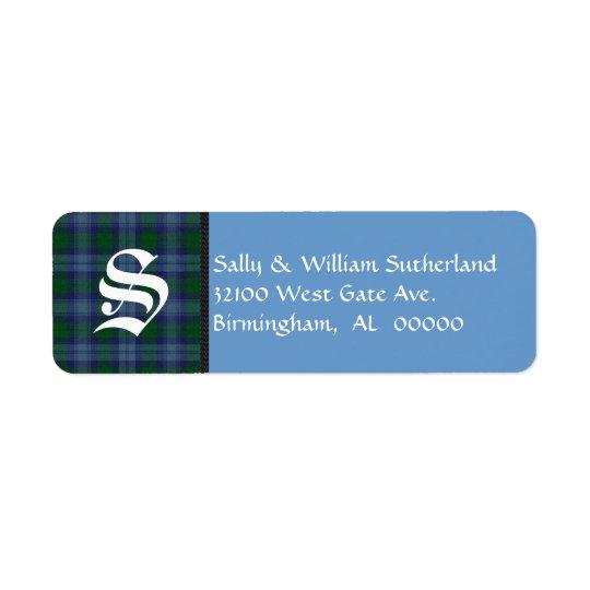 Traditional Sutherland Tartan Plaid Monogram Return Address Label