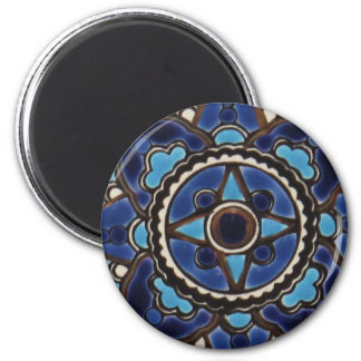 Traditional Turkish  blue and white  tile design 6 Cm Round Magnet