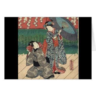 traditional umbrella kimono japanese geisha card