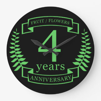 Traditional US wedding anniversary 4 years Large Clock