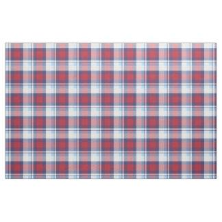 Traditional USA Red White Blue Tartan Pattern Fabric