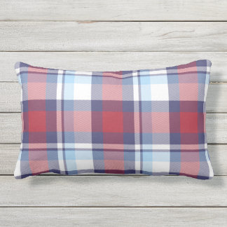 Traditional USA Red White Blue Tartan Pattern Outdoor Cushion