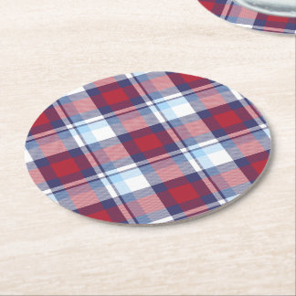 Traditional USA Red White Blue Tartan Pattern Round Paper Coaster