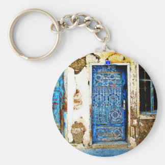 Traditional Vintage Old Greece Blue Door Basic Round Button Key Ring