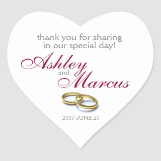 Traditional Wedding Rings Heart Sticker