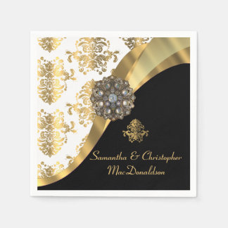 Traditional white, black and gold damask wedding disposable napkins