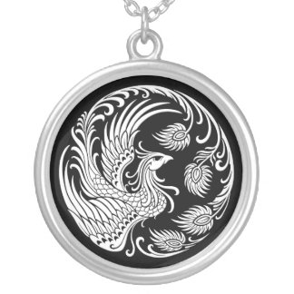 Traditional White Phoenix Circle on Black Silver Plated Necklace