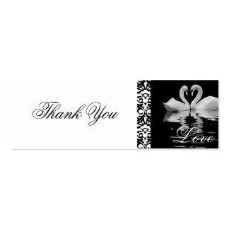 Traditional White Swans Thank You Card Pack Of Skinny Business Cards