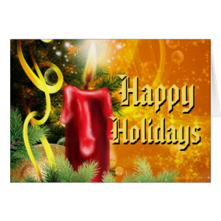 Traditional Xmas Red Candle Flame Happy Holidays Note Card