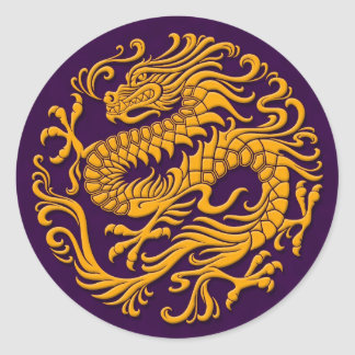 Traditional Yellow and Purple Chinese Dragon Circl Round Sticker