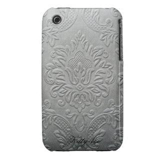 Traditionally flowers relief fleur-de-lis, silver  iPhone 3 case