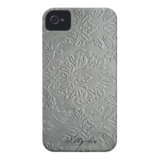 Traditionally flowers relief fleur-de-lis, silver  iPhone 4 cases