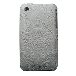 Traditionally flowers relief fleur-de-lis, silver iPhone 3 covers