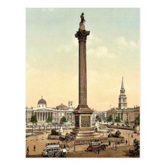 Trafalgar Square and National Gallery, London, Eng Postcard