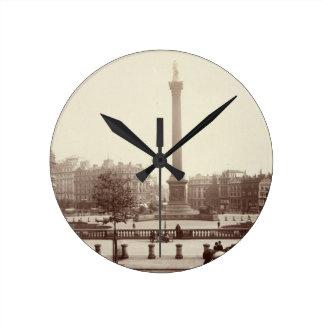 Trafalgar Square, London (sepia photo) Wall Clock
