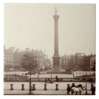 Trafalgar Square, London (sepia photo) Large Square Tile