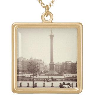 Trafalgar Square, London (sepia photo) Square Pendant Necklace