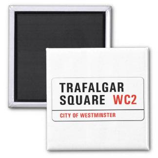 Trafalgar Square, London Street Sign Square Magnet