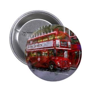 Trafalgar Square Red Double-decker Bus London UK Button