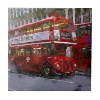 Trafalgar Square Red Double-decker Bus, London, UK Small Square Tile