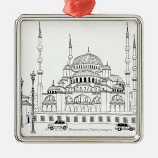 Traffic by mosque Silver-Colored square decoration