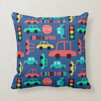 Traffic Cars Pattern on Blue Cushion