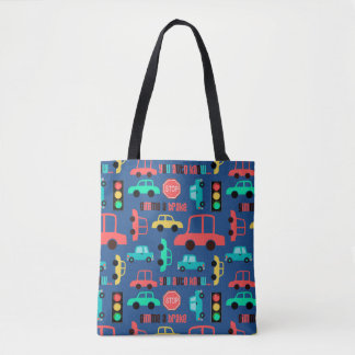 Traffic Cars Pattern on Blue Tote Bag