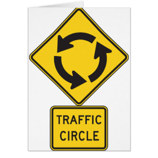 Traffic Circle Road Sign Greeting Cards