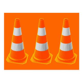 Traffic Cone with Grey Stripes Postcard