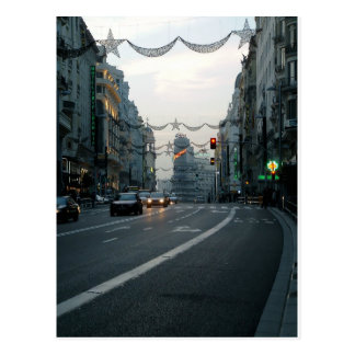 Traffic in Great via, Madrid Postcard