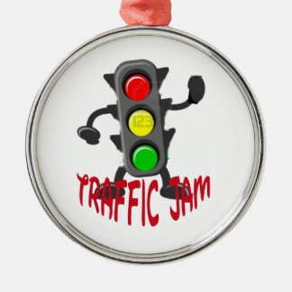 Traffic Jam Cute and Funny Design Silver-Colored Round Decoration
