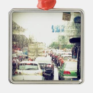 Traffic Jam Silver-Colored Square Decoration