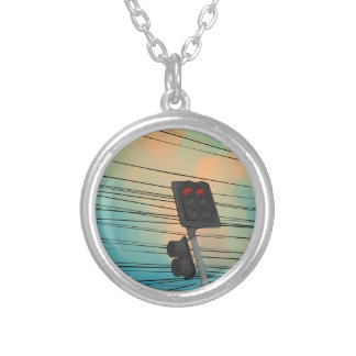 Traffic Light Afternoon Silver Plated Necklace