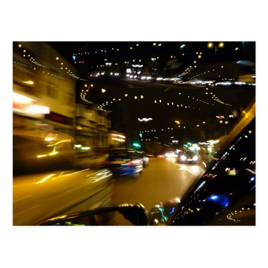Traffic night lights postcard