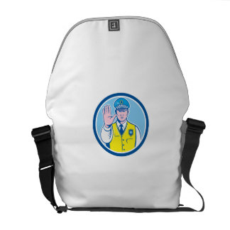 Traffic Policeman Hand Stop Sign Circle Cartoon Courier Bag