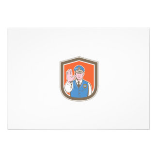 Traffic Policeman Hand Stop Sign Shield Cartoon Personalized Invitations