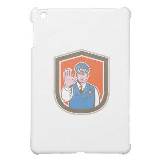 Traffic Policeman Hand Stop Sign Shield Cartoon iPad Mini Cover