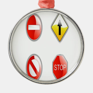 Traffic road signs design Silver-Colored round decoration