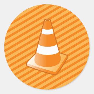 Traffic Safety Cone Classic Round Sticker