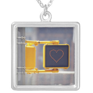 Traffic Sign Silver Plated Necklace