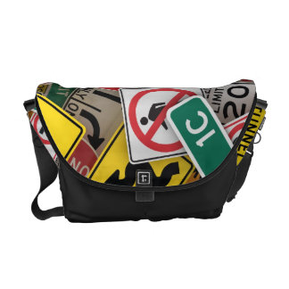 Traffic signs courier bag