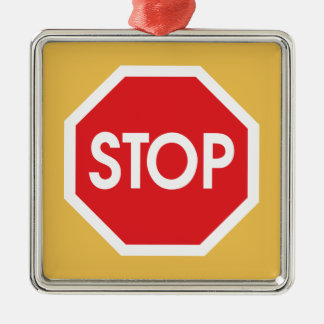 Traffic stop sign (infrastructure road works) Silver-Colored square decoration