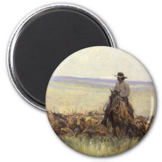 Trail Herd to Wyoming by WHD Koerner 6 Cm Round Magnet