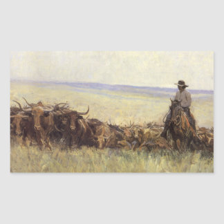 Trail Herd to Wyoming by WHD Koerner Rectangular Sticker