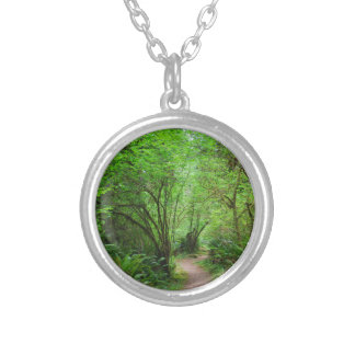 Trail in Redwood Forest Silver Plated Necklace