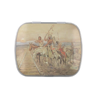 TRAIL OF THE IRON HORSE-CANDY TIN