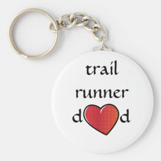 Trail Runner Dad Red Heart Design Key Ring