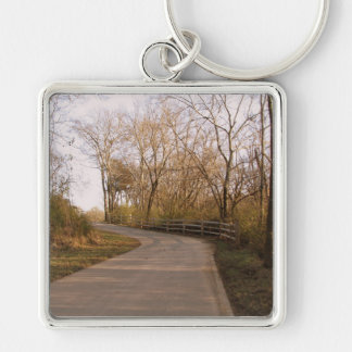 Trail though the Woods Silver-Colored Square Key Ring