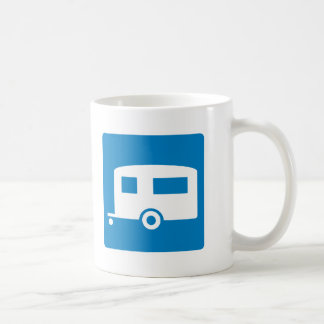 Trailer Camping Highway Sign Coffee Mugs