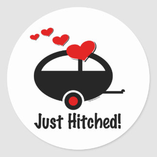 Trailer Just Hitched Round Sticker